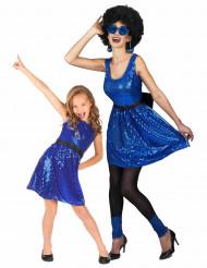 Disfraz de pareja disco azul madre e hija