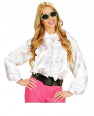 Camisa blanca con volante mujer