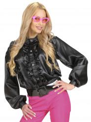 Camisa negra volantes mujer
