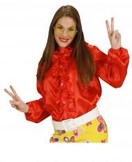 Camisa roja con volante mujer