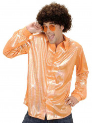 Camisa disco holográfica naranja hombre