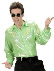 Camisa disco holográfica verde hombre