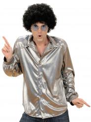 Camisa disco holográfica plateada hombre