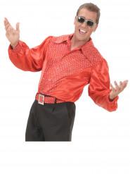 Camisa roja brillante disco hombre