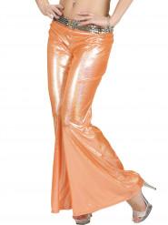Pantalón disco holográfico naranja mujer