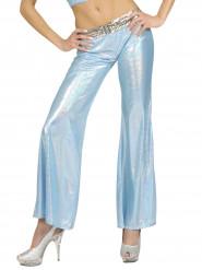 Pantalón disco holográfico azul mujer
