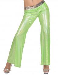Pantalón disco holográfico verde mujer