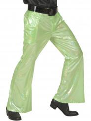 Pantalón disco holográfico verde para hombre