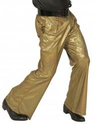 Pantalón disco holográfico dorado hombre