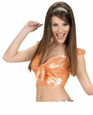 Camiseta top holográfico naranja lazo sexy mujer