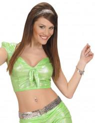 Camiseta top holográfico verde con lazo sexy mujer