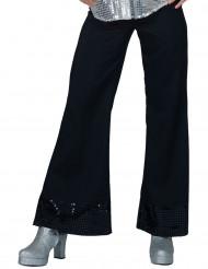 Pantalón disco negro con lentejuelas Mujer