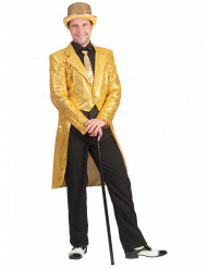 Chaqueta tipo frac de lentejuelas doradas hombre