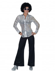 Camisa disco de letejuelas plateadas Mujer