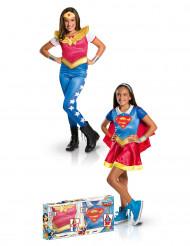 Disfraz Supergirl™ y Wonder Woman™ niña en caja