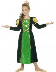 Disfraz reina medieval verde niña