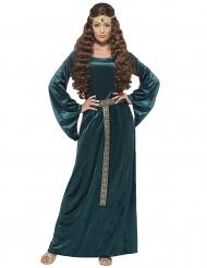 Disfraz de reina medieval verde mujer