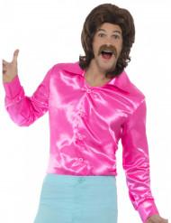 Camisa satinada rosa fosforita hombre