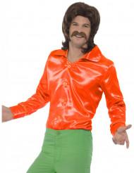 Camisa naranja satinada fluo hombre