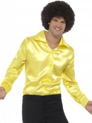 Camisa amarilla satinada fosforita hombre