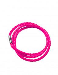 Pulsera trenzada rosa fluorescente adulto