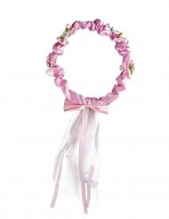Corona de flores rosas con lazo para Niña