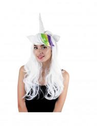 Peluca unicornio con cuernos y orejas mujer