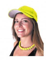Gorra deportiva con lentejuelas amarillas adulto
