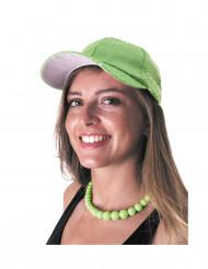 Gorra deportiva verde con lentejuelas adulto