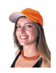 Gorra deportiva naranja con lentejuelas