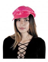 Gorra disco con lentejuelas rosa fluo adulto