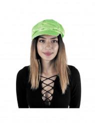 Gorra disco con lentejuelas verde fluo adulto