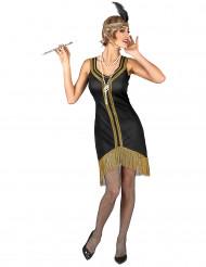 Disfraz Charlestón negro y dorado con flecos Mujer