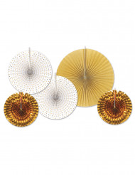 5 Rosetones de papel blanco y dorado
