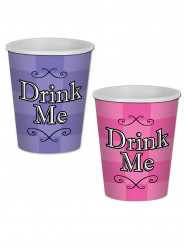 8 Vasos violeta y rosa Alicia en el país imaginario 260 ml