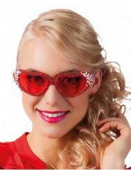 Gafas corazón purpurina con brillantes adulto