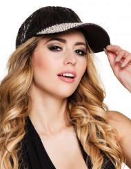 Gorra con lentejuelas negra adulto