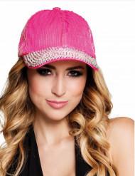 Gorra con lentejuelas rosa adulto