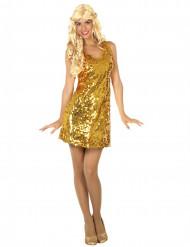 Disfraz disco sexy dorado mujer