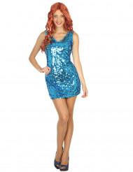 Disfraz estilo disco sexy azul mujer