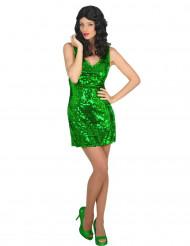 Disfraz vestido disco sexy verde mujer