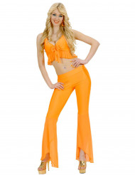 Disfraz disco sexy fluorescente naranja mujer