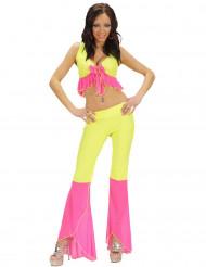 Disfraz disco sexy fluo amarillo y rosa mujer