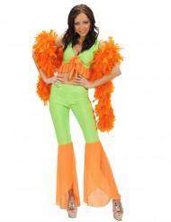 Disfraz disco sexy fluo verde y naranja mujer