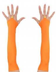 Mitones largos naranja mujer