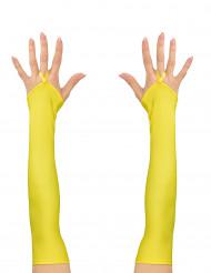 Mitones largos amarillo fluorescente mujer