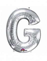 Globo gigante de aluminio letra G plateada 63x81cm