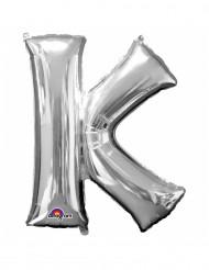 Globo Aluminio Gigante plateado letra K 66x83cm
