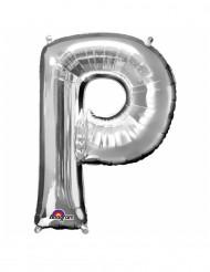 Globo aluminio gigante letra P plateado 60x81 cm