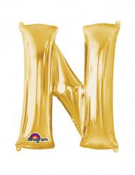 Globo Aluminio Gigante dorado letra N 60x81cm
